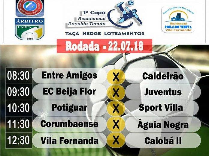 Copa Residencial Ronaldo Tenuta terá cinco partidas no domingo